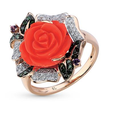 Фото «золотое кольцо с бриллиантами, кораллами синтетическими и аметистами»