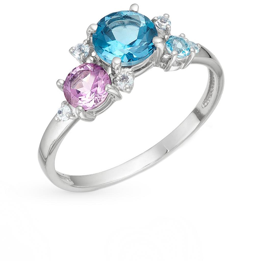 Фото «серебряное кольцо с аметистом, топазами, хризолитом и родолитами»