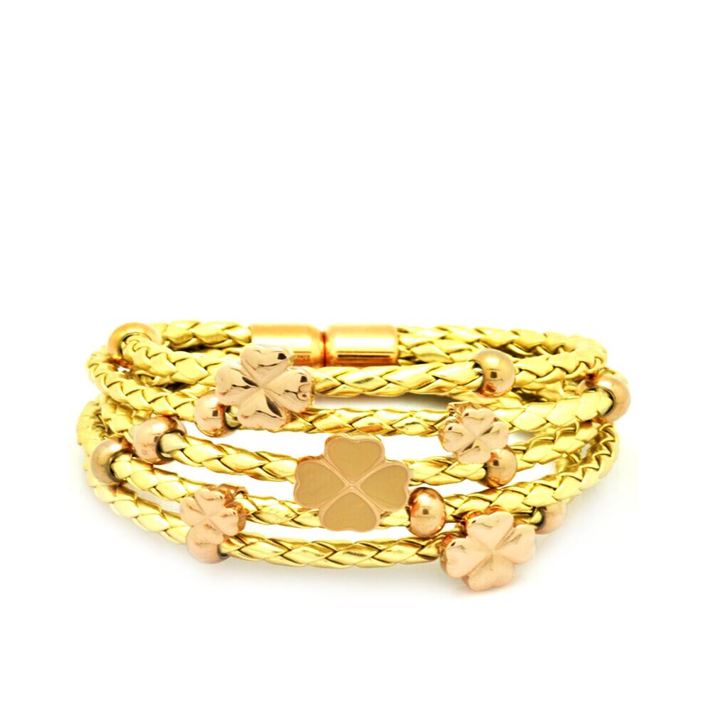 Фото «кожаный браслет с со сталью и эмалью»