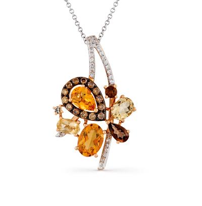 золотая подвеска с цитринами, кварцем и бриллиантами SUNLIGHT