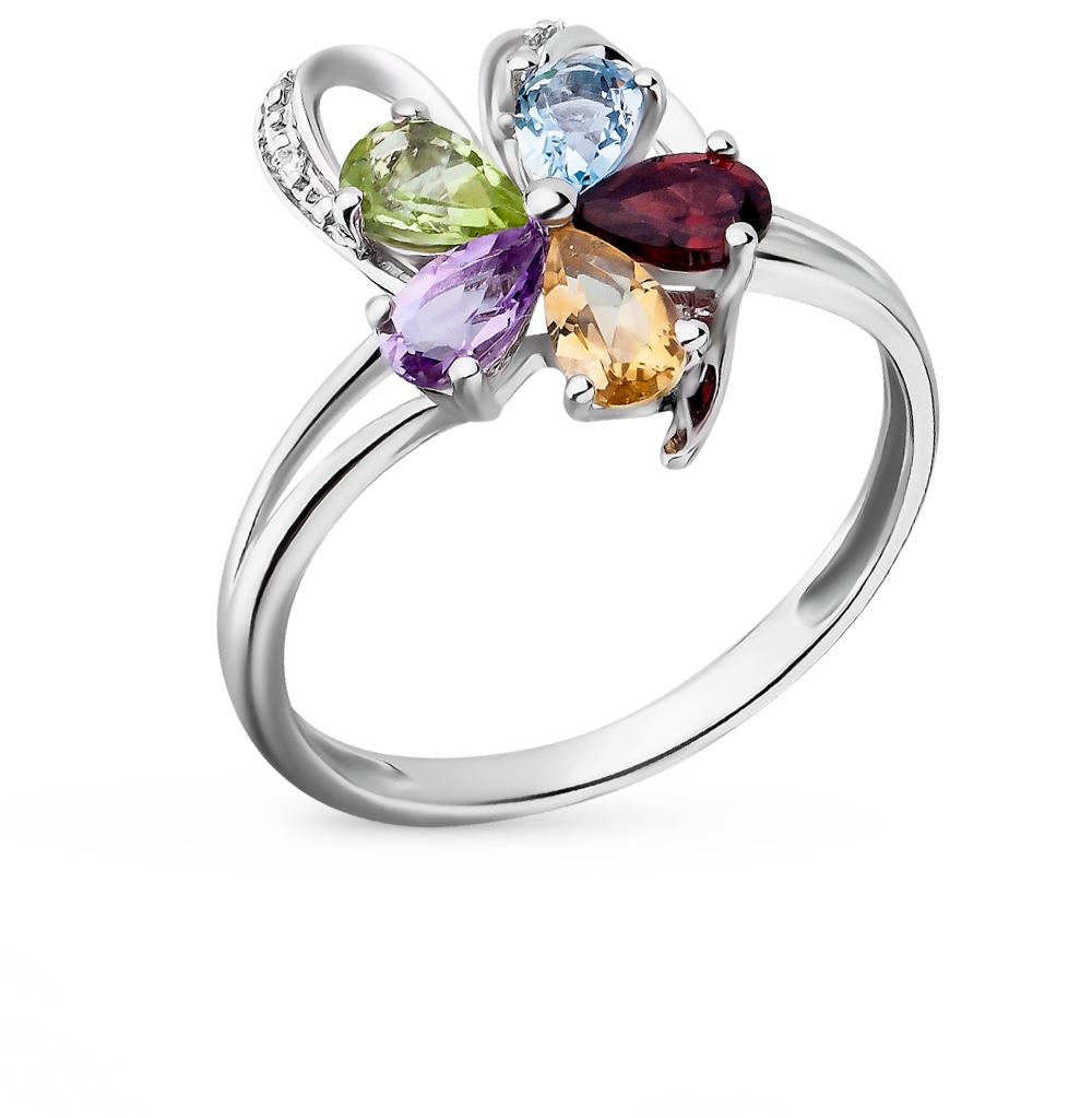 Фото «серебряное кольцо с аметистом, гранатом, цитринами, топазами, фианитами и хризолитом»